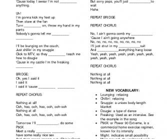 26 free plans worksheets song worksheet the lazy song by bruno mars stopboris Images