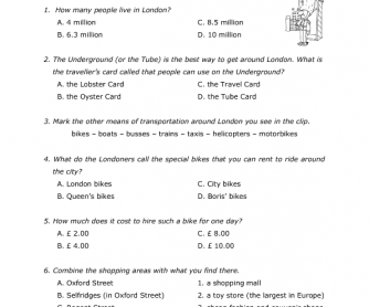 Movie Worksheet The Ultimate London Travel Guide