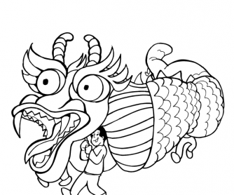 chinese new year colouring page 1