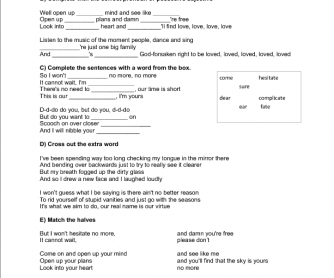 Song Worksheet: I\u0027m Yours by Jason Mraz