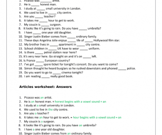 English worksheet: Definite & indefinite Articles: a/an, the or zero article