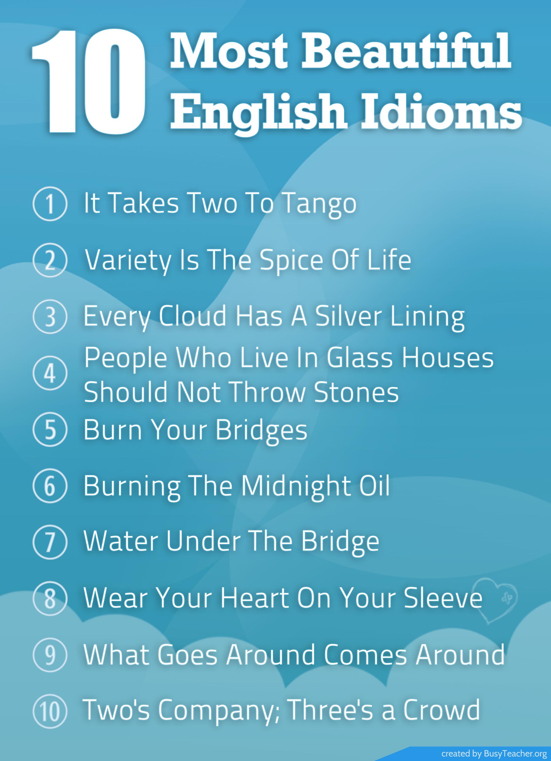 10 Most Beautiful English Idioms Poster