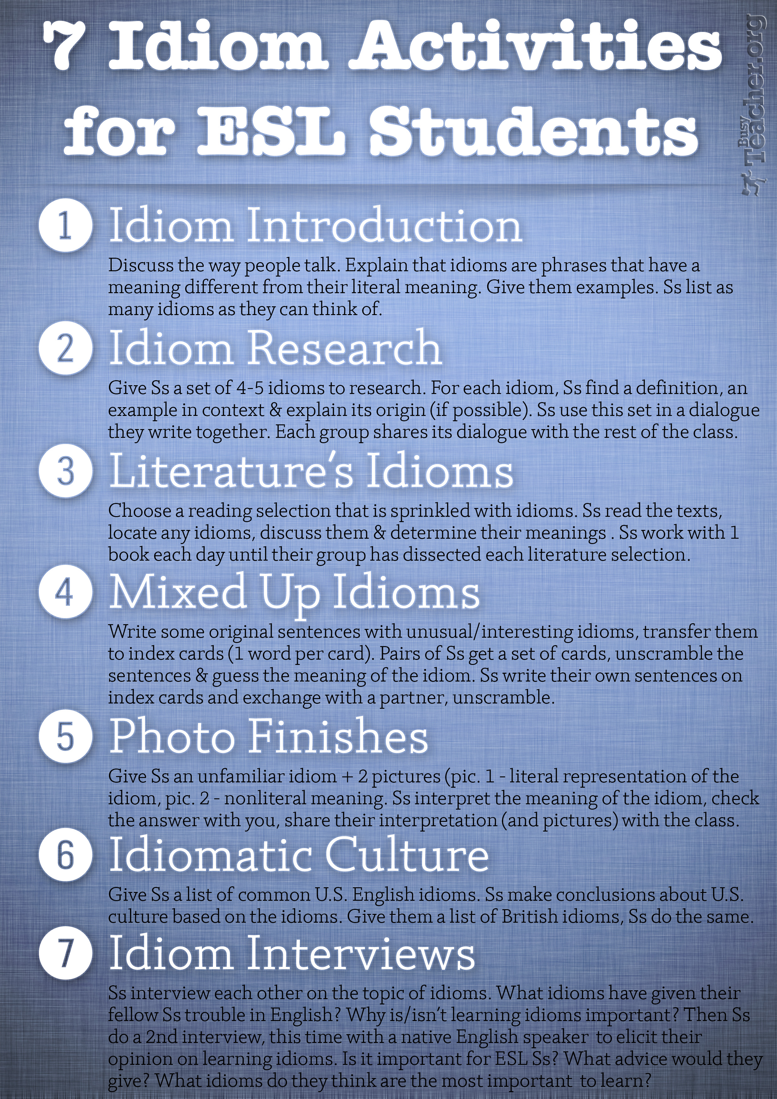 7 Idiom Activities For Esl Students Poster