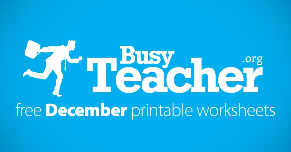 125 FREE December Worksheets for Your ESL Classes