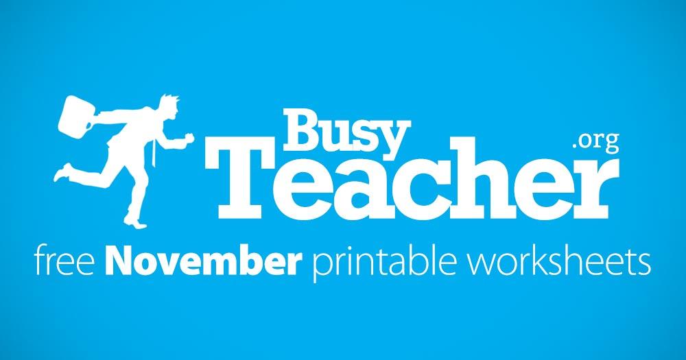 63 FREE November Worksheets for Your ESL Classes