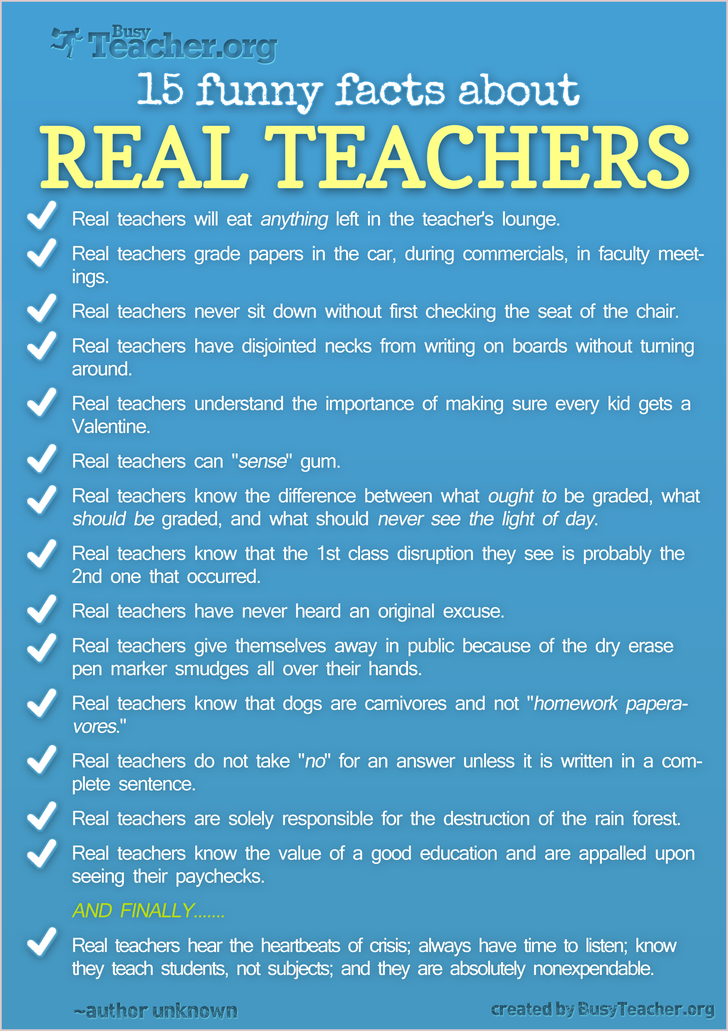 POSTER: 15 Funny Facts About Real Teachers