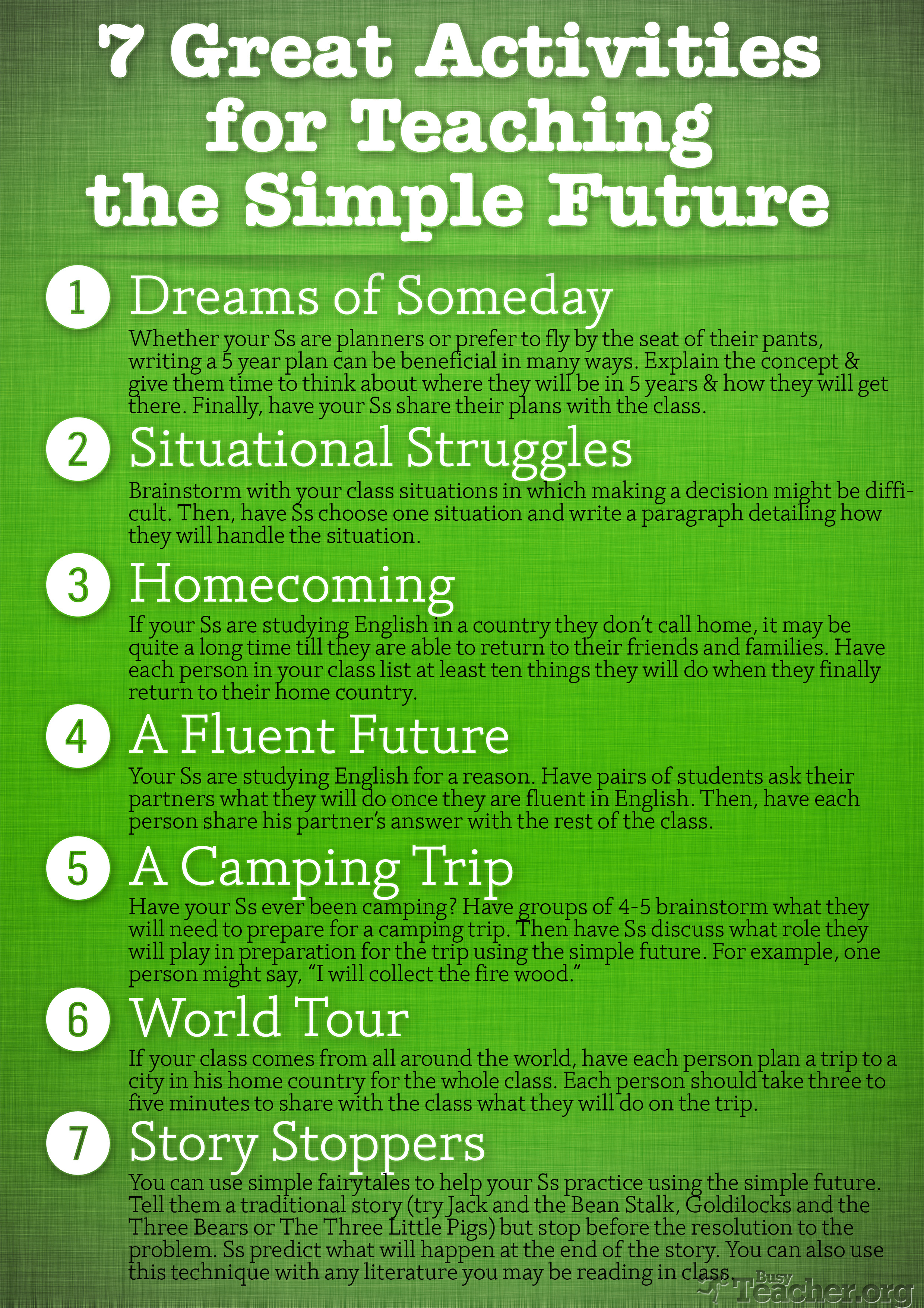 Poster 7 great activities to teach the simple future