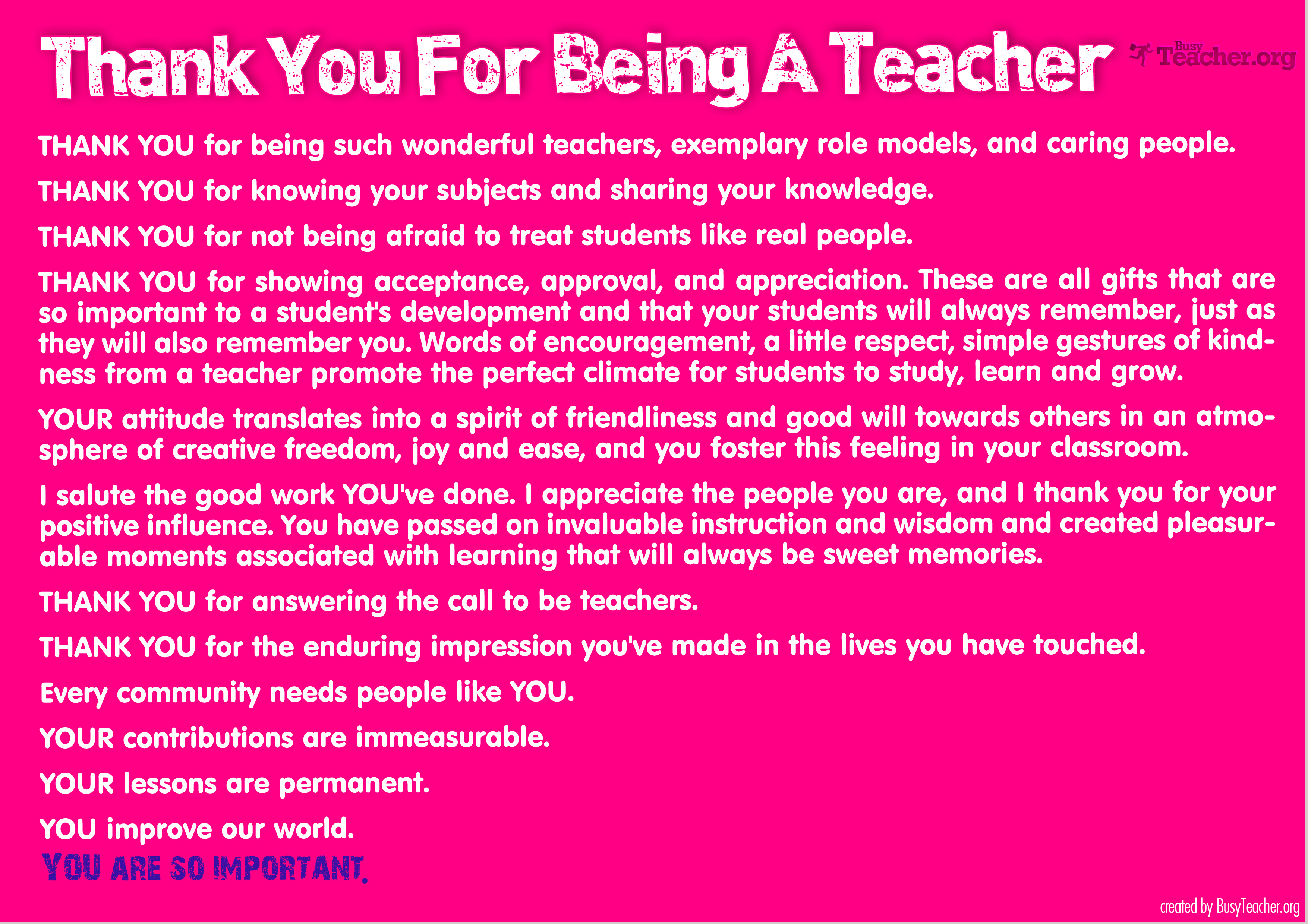 Thank You Teacher Quotes Thank You For Being A Teacher Poster