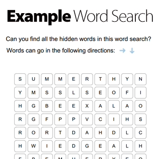 Create a word search in seconds with our free word search for Create your own word search template