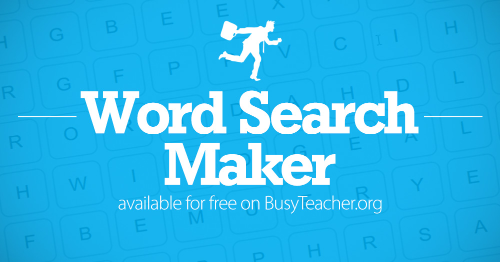 create a word search in seconds with our free word search