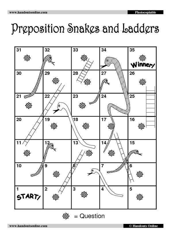 Preposition snakes and ladders for Snakes and ladders template pdf