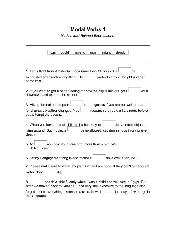 modal verbs multiple choice exercises pdf
