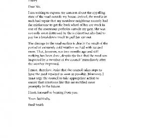 A letter of complaint (T)