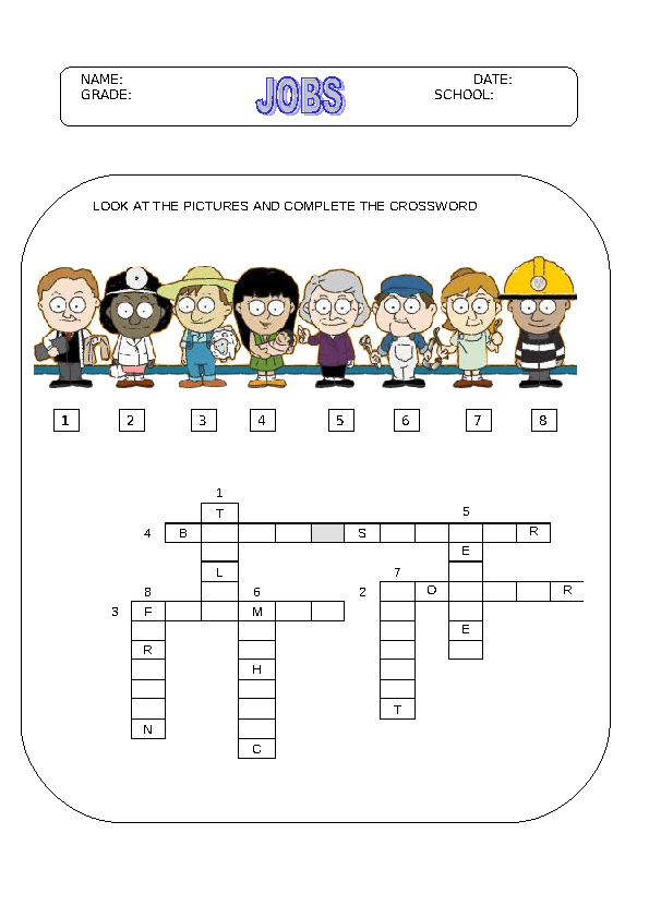 Modular Classroom Crossword ~ Jobs crossword