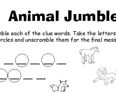 image about Printable Jumble referred to as Animal Jumble Printable Worksheet