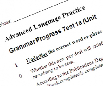 Preliminary Grammar Test for Advanced Learners