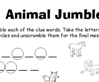 Animal Jumble Printable Worksheet