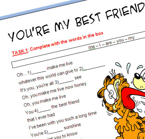 Song Worksheet Youre My Best Friend With Video