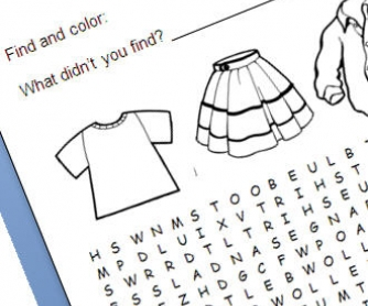 Clothes and Colours Wordsearch