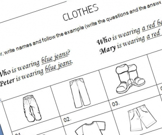 Junior Clothes and Colours Worksheet: Colour and Write