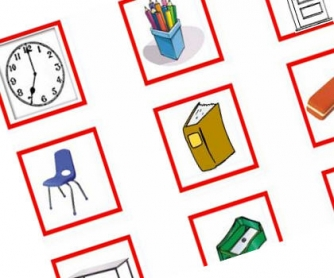 Classroom Objects Target Board Matching Activity