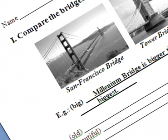 Around the city + degrees of comparison worksheet