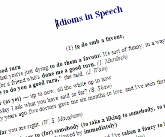 Idioms in Speech Worksheet