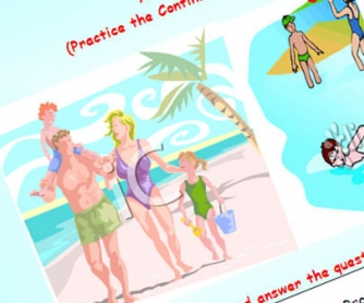 At the beach: Present Continuous Worksheet