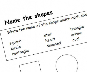 Shape Names Printable Worksheet