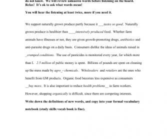 Answer sheet for sample listening worksheet