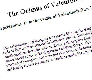 The Origins Of Saint Valentine S Day Reading Worksheet