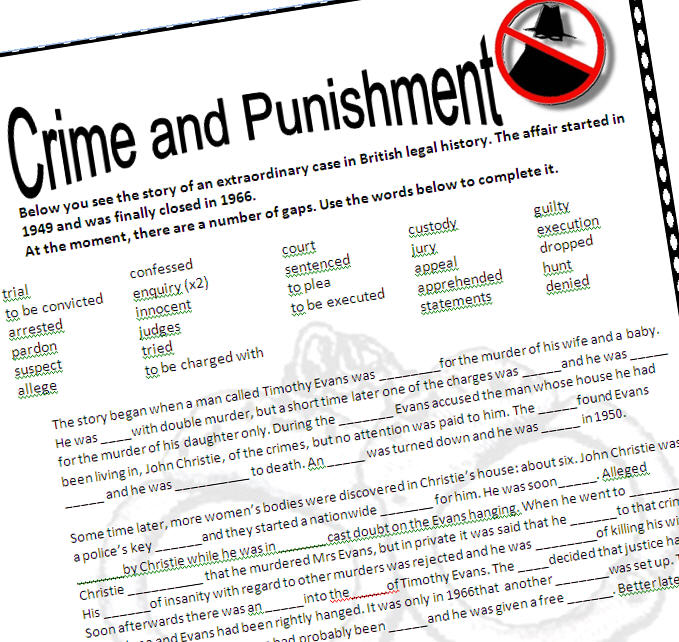 crime and punishment worksheet. Black Bedroom Furniture Sets. Home Design Ideas