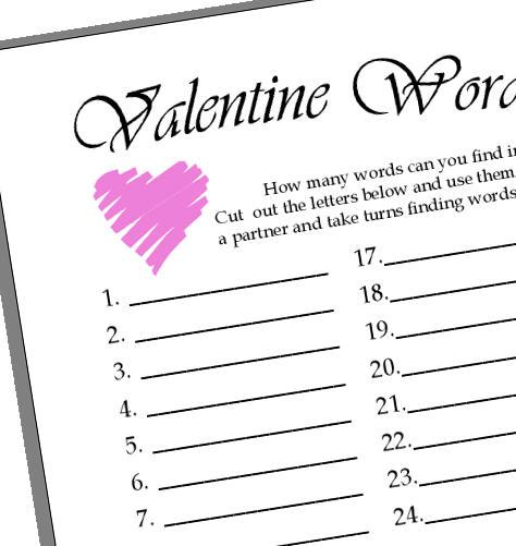 Valentine Word Challenge