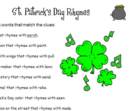 Patrick's Day Rhymes