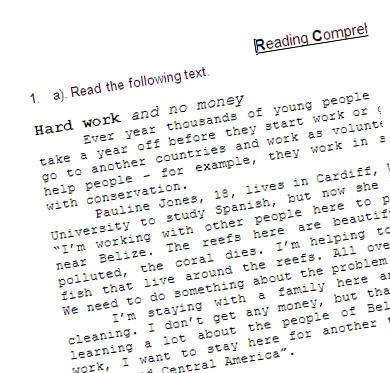 English teaching worksheets: Volunteering
