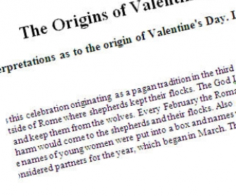 The Origins of Saint Valentine's Day: Reading Worksheet