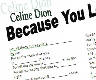 Past Simple Song Worksheet: Because you loved me by Celine Dion (WITH VIDEO)