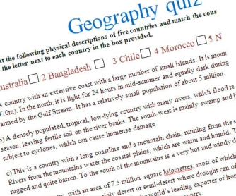 Geography quiz - vocabulary