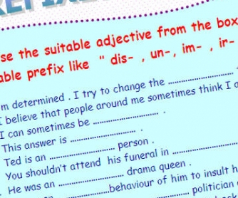 Prefixes Printable Worksheet