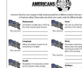 American and You Country's Lifestyles: Comparison Worksheet