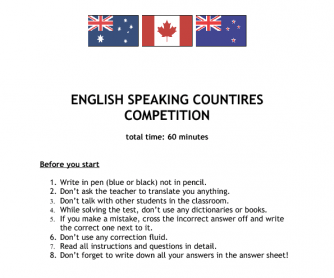 english speaking countries quiz 2