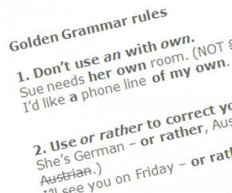 Golden Grammar Rules: 100 Rules, 10 pages