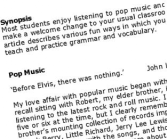 Using Pop Songs in Class - article