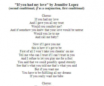Song Worksheet: If you had my love by Jennifer Lopez (WITH VIDEO)