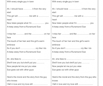 Run around Sue -Song Worksheet and Listening