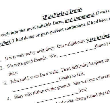 present perfect and past perfect exercises pdf with answers