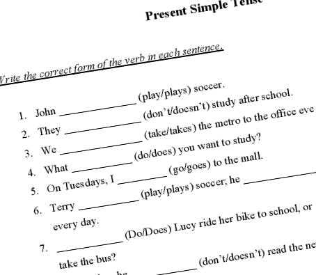 Present Simple Printable Worksheet