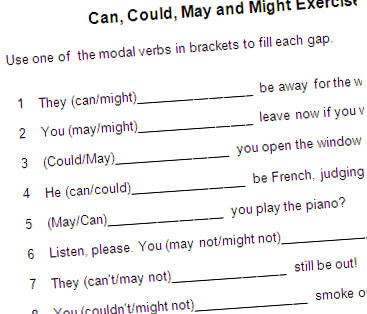 Modal verb would exercise
