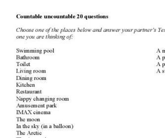 Countable/Uncountable Nouns - 20 Questions Printable Worksheet