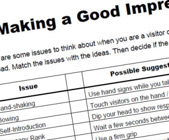 Making a Good Impression: Cultural Awareness Worksheet
